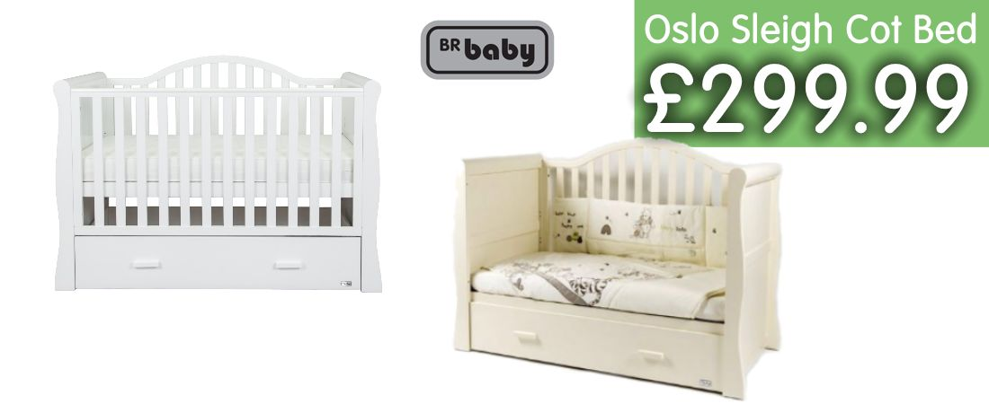 Buy BRBaby Oslo Sleigh Cot-bed online at the best price. BRBaby Oslo Sleigh Cot-bed Bed UK & ROI delivery. Payment plans. Online baby pram store UK.